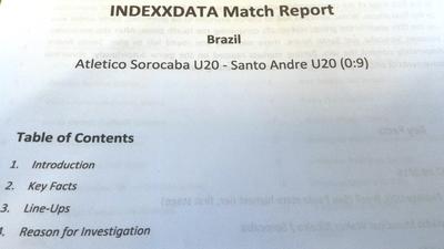 Relatório da Indexxdata sobre a partida (Foto: Divulgação)