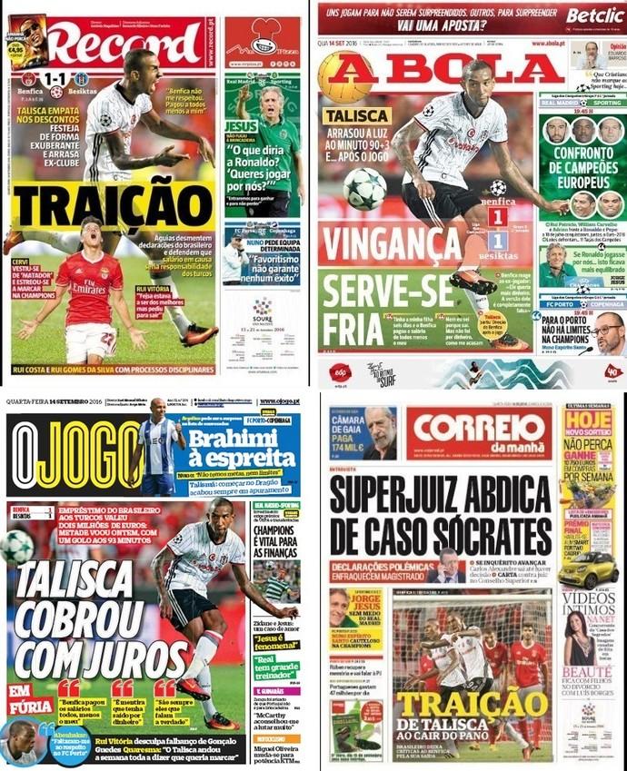 Capas dos jornais de Portugal com o gol decisivo de Anderson Talisca
