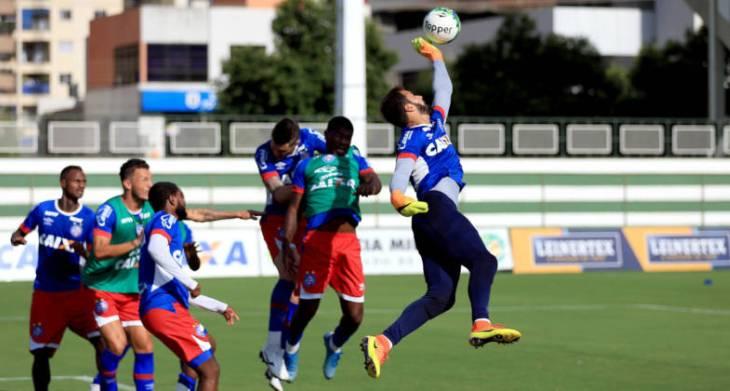 O início do treino em Goiânia foi liberado para a imprensa (Foto: Felipe Oliveira / Divulgação / E.C. Bahia)