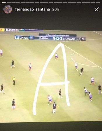 Da TV do quarto, Fernandão acompanhou o triunfo do Bahia sobre o Bragantino (Foto: Reprodução / Instagram)