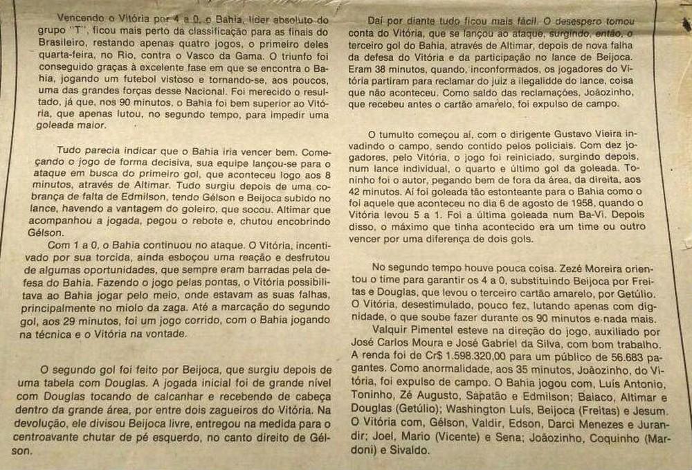 Jornal do dia 10 de julho de 1978 descreve o clássico válido pelo Campeonato Brasileiro (Foto: Thiago Pereira)