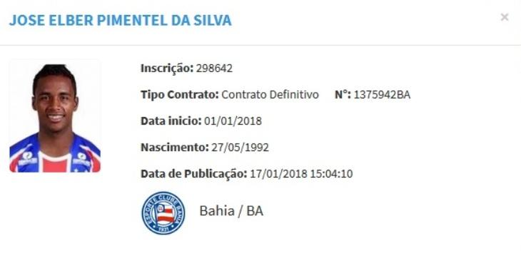 Contrato de Elber é registrado no BID da CBF (Foto: Reprodução/CBF)