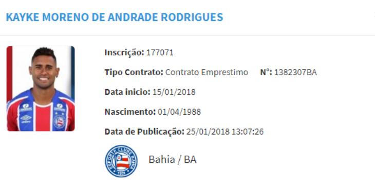 Contrato de Kayke é registrado no BID da CBF (Foto: Reprodução/CBF)