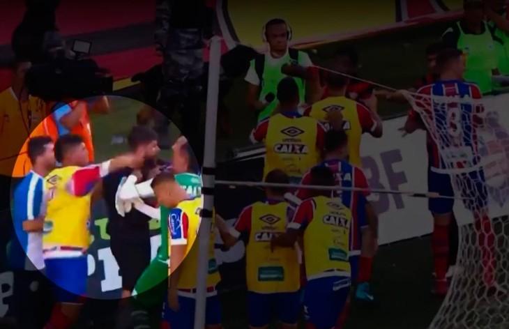 Edson agride Fernando Miguel (Foto: Reprodução)