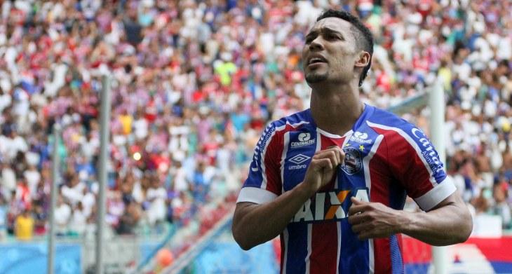 Edigar Junio comemora gol na Arena Fonte Nova (Foto: Marcelo Malaquias/Divulgação/EC Bahia)